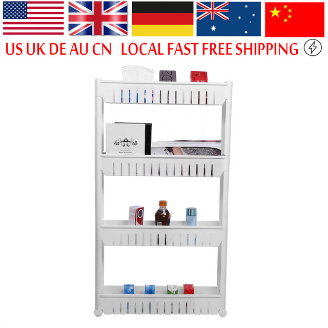 Spice Rack 3 4 Tier Slide Out Storage Tower Holder Kitchen Trolley Bathroom  Roll Kitchen Storage