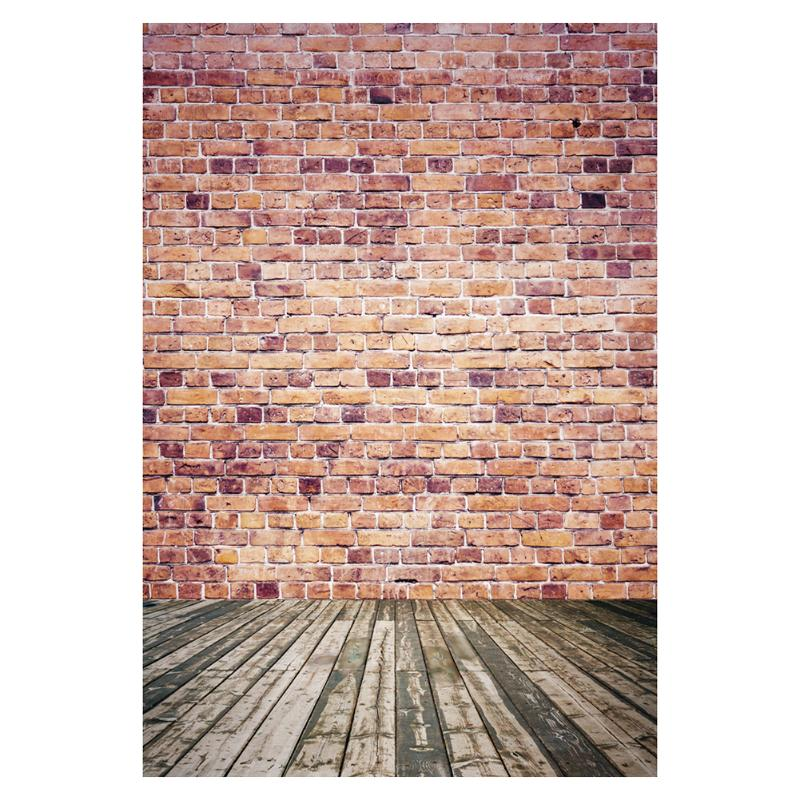 Retro Red Bricks Wall Background Wood Floor Photography Backgrounds 90*150CM Art Cloth Props Backdrop Decor For Studio Family