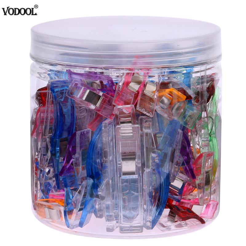 100pcs Plastic Wonder Sewing Clips Clamps Holder Fabric Cloth Patchwork Sewing Quilting 25 large+75 smaller clips Crochet Tools100pcs Plastic Wonder Sewing Clips Clamps Holder Fabric Cloth Patchwork Sewing Quilting 25 large+75 smaller clips Crochet Tools