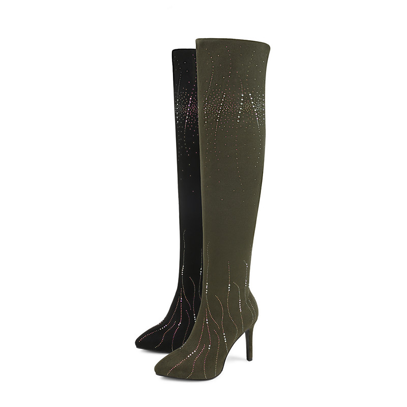 Bottes Aiguilles Genou Memunia Cuisse Sexy Sur Noir 2018 blackish Green Talons Top Haute Automne Stretch Chaussettes Hiver Qualité Chaussures Le Femmes 6bfgYy7v