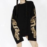 2018 autumn new dragon embroidery couple loose street sweatshirt
