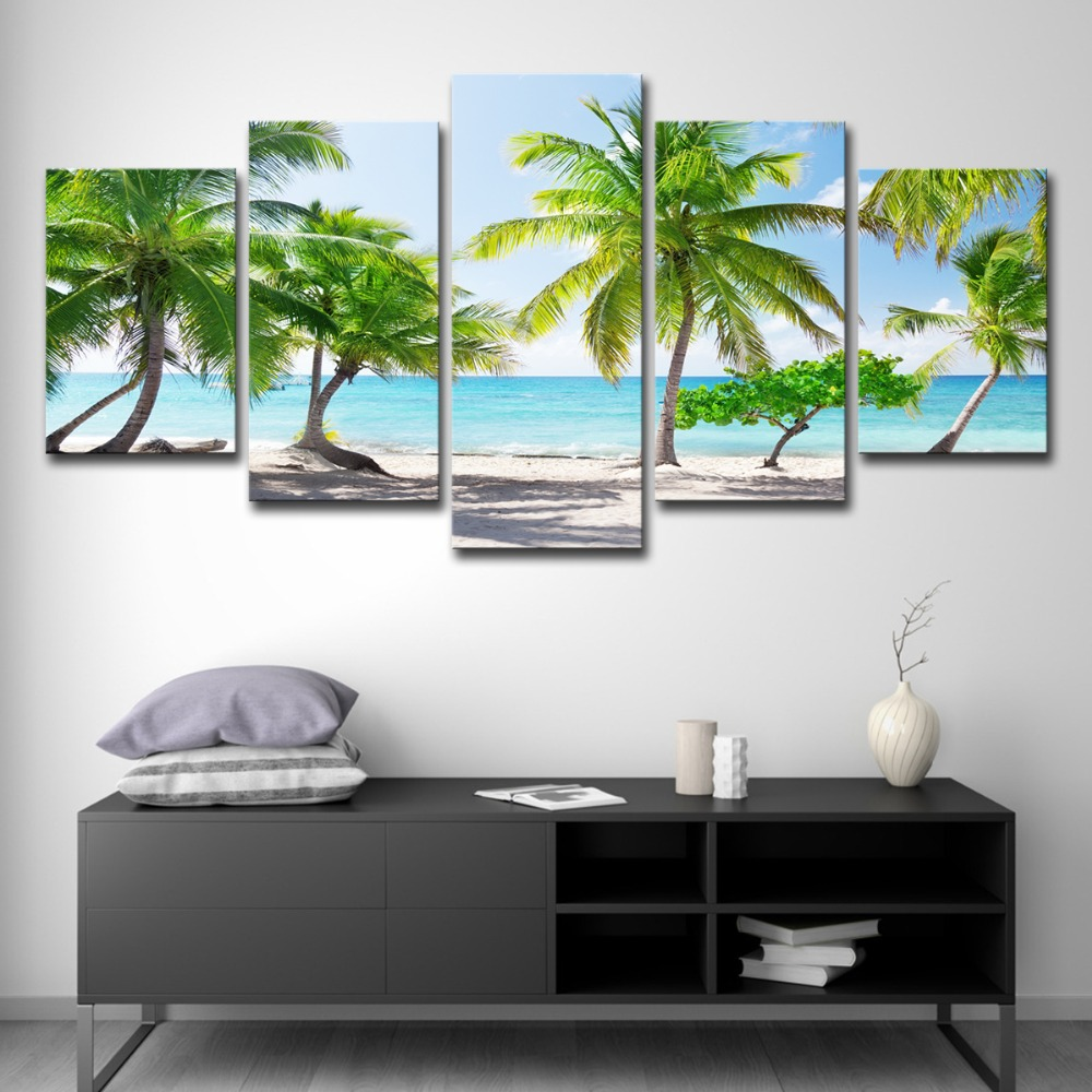 5P0147 HD Printed Canvas Poster Home Decor Modular Pictures Frame 3 Pieces Santa Catalinna Island Beach Coconut Trees Paintings PENGDA (10)