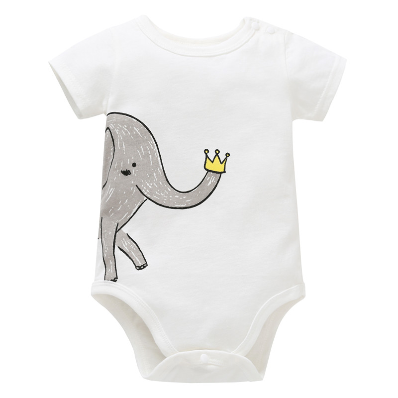 0-12M Newborn Boy   Rompers   Toddler Girl Clothes Cotton Summer Clothing Jumpsuit Infant   Romper   Cartoon ELEPHANT Baby Playsuit