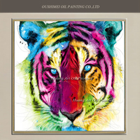 Skilled Painter Hand Painted Fierce Tiger Oil Painting Abstract Colorful Painting On Canvas For Living Room Wall Decor Animals