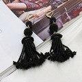 Nuevo hecho a mano puro pendientes retro con flecos de cuentas pendientes largos de las mujeres de red rojo moda temperamento pendientes de la joyería 337