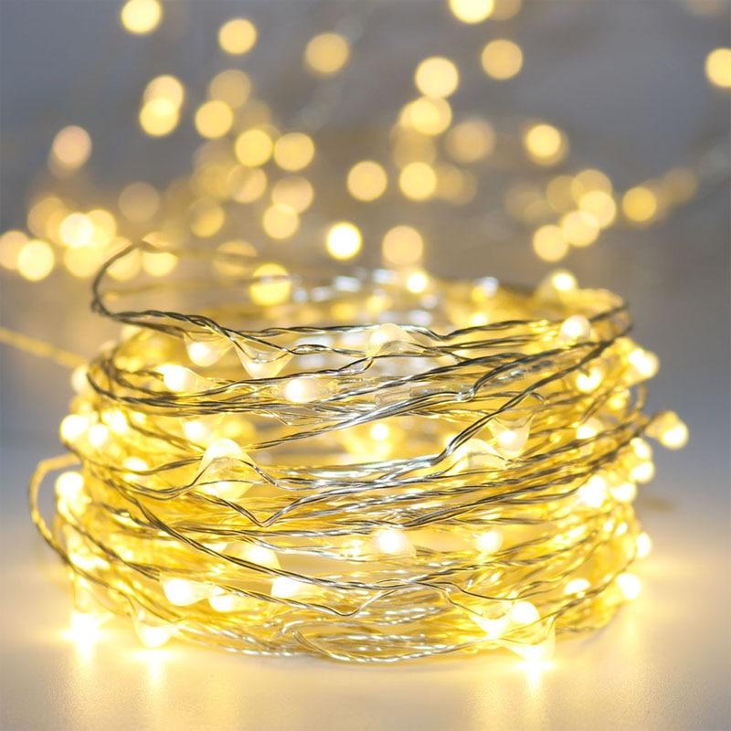 5x10M 100 DC12V теплый белый серебряный медный провод микро-строки огни освещения звездного декора праздник лампа + 110 В 220 В 1A CE UL адаптер