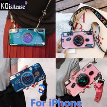 KoisAcase Blu-ray retro camera soft case For iPhone X XR Xs Max 6 6S 7 8 Plus case with doll bracket lanyard protective Cover(China)