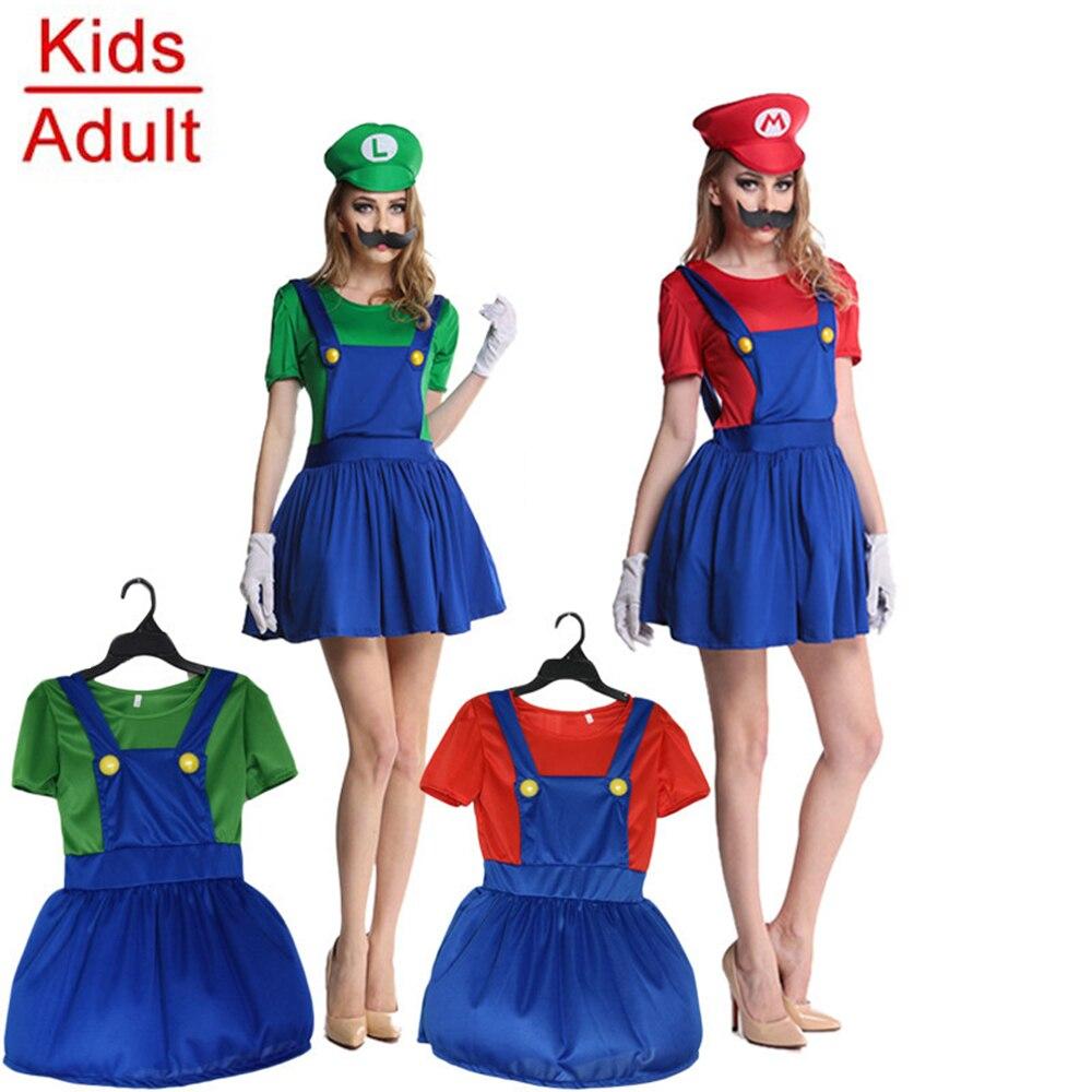 Hot Super Mario Halloween Costume Adults Girls Women Anime MARIO & LUIGI Cosplay Costumes Christmas Party Dress with Hat Beard