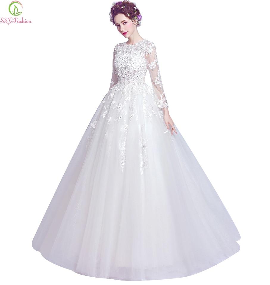Ssyfashion Long Sleeve Wedding Dresses The Bride Elegant: Aliexpress.com : Buy SSYFashion Wedding Dress White Luxury