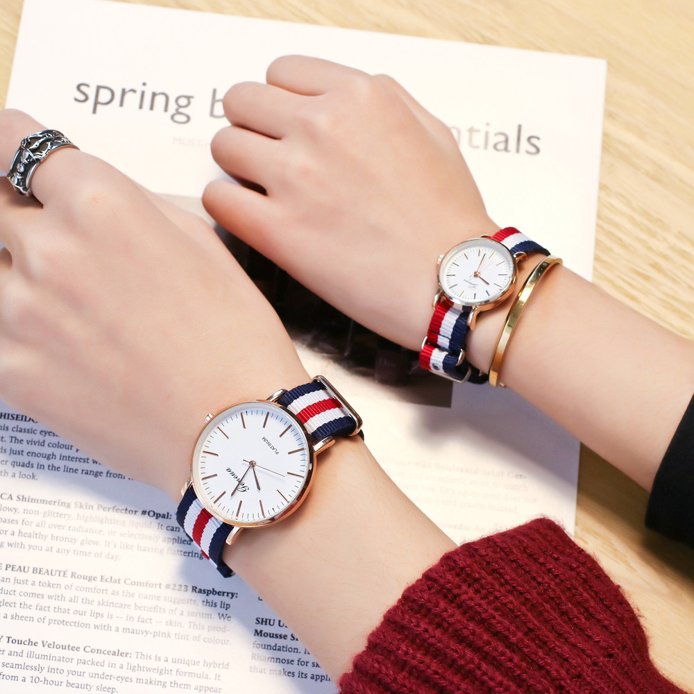 Fashion Canvas Couple Quartz Watches Men Women Casual Multi-color Ultra-thin DW Style Watch Simple Designed Watches For Lovers