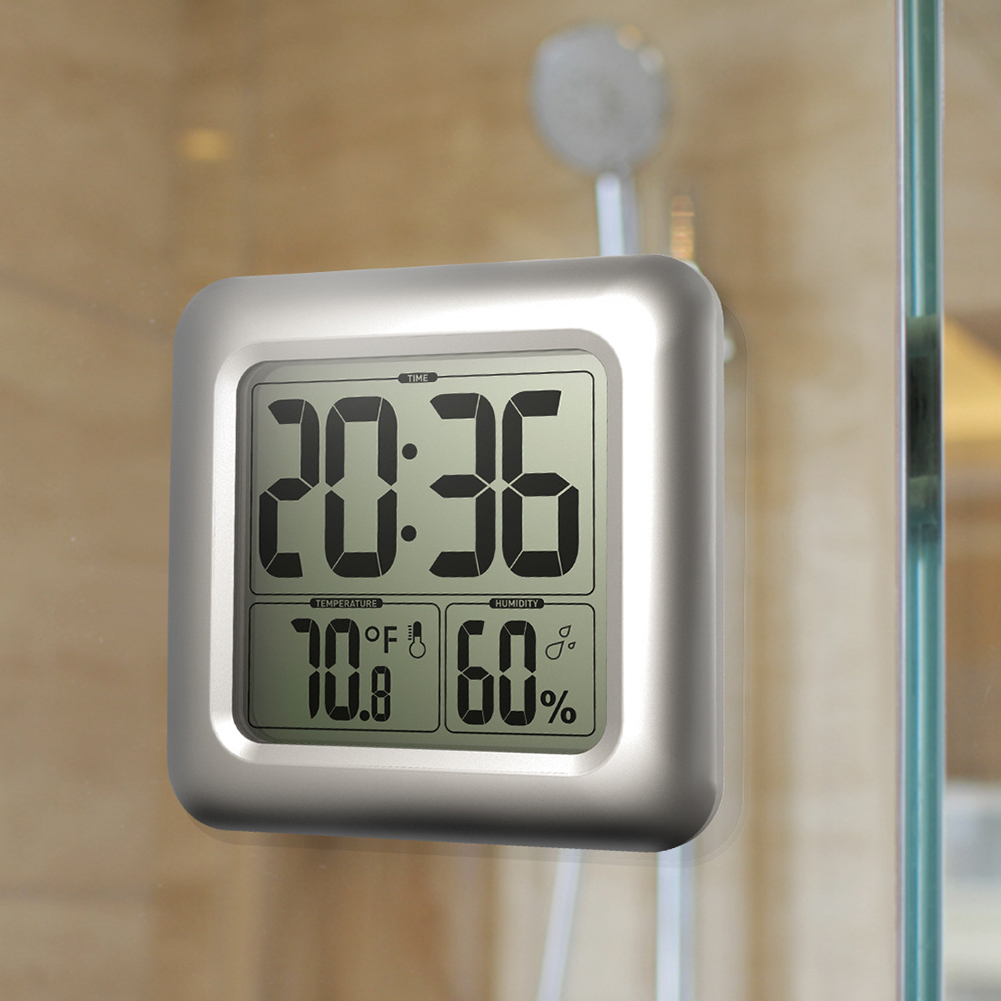 Digital Waterproof Shower Temperature Humidity Timer Desk Bathroom Kitchen Table Thermometer Large Wall Clock stone wall pattern waterproof bathroom shower curtain