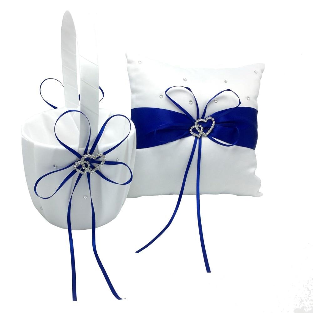 4 pièces/ensemble bleu Royal décoration de mariage nuptiale Satin anneau oreiller + panier de fleurs + livre d'or + ensemble de stylos Casamente produits - 4