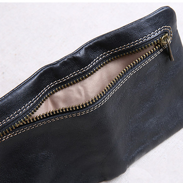 AETOO Mini purse men and women handmade leather ultra-thin soft leather wallet first layer leather wallet short zipper buckle 5