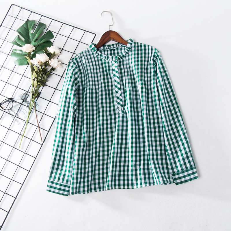 6d944303d Korean Style 2018 Fashion Long Sleeve Green and White Plaid Check Blouse  Women Sweet Pleated Collar School Shirts Tops Pullover