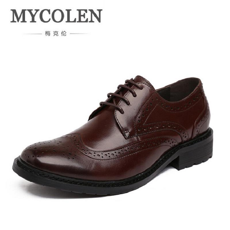 MYCOLEN Men Dress Shoes Luxury Brand Business Casual Men's Oxfords Pointed Toe Black Men Shoes Lace Up Designer Leather Shoes okhotcn male pointed toe cow leather shoes daily plaid men casual business dress shoes oxfords men flat lace up sapato masculino