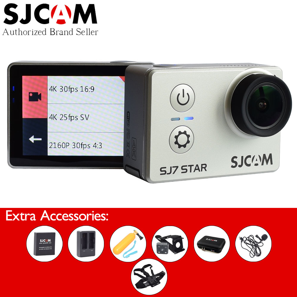 SJCAM SJ7 Star 4K 30fps Wifi Ambarella A12S75 Chip 2.0 Touch Screen Remote Control Sport Action Camera with Extra Accessories