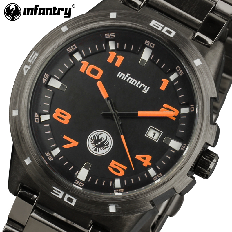 INFANTRY Watch Men Luxury Brand Full Steel Quartz Watches Relojes Waterproof Sport Watches Auto Date Orange Big Dial Male Clocks weide men watch quartz contracted watch stainless steel date sport in digital watches led round big dial luxury fashion casual