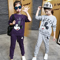 2 pcs Fashion Cartoon Children's Sets 2017 New Spring Teens Baby Girls Sports Sets Hoodies and Pants Girls Girl Clothing Sets