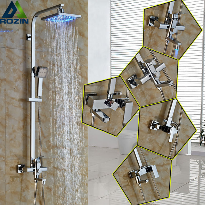 Bathroom 8 Square Rain Led Light Shower head Bath Shower Faucet Set Wall mounted single Lever + led Color Changed Handshower oki oki c9655dn