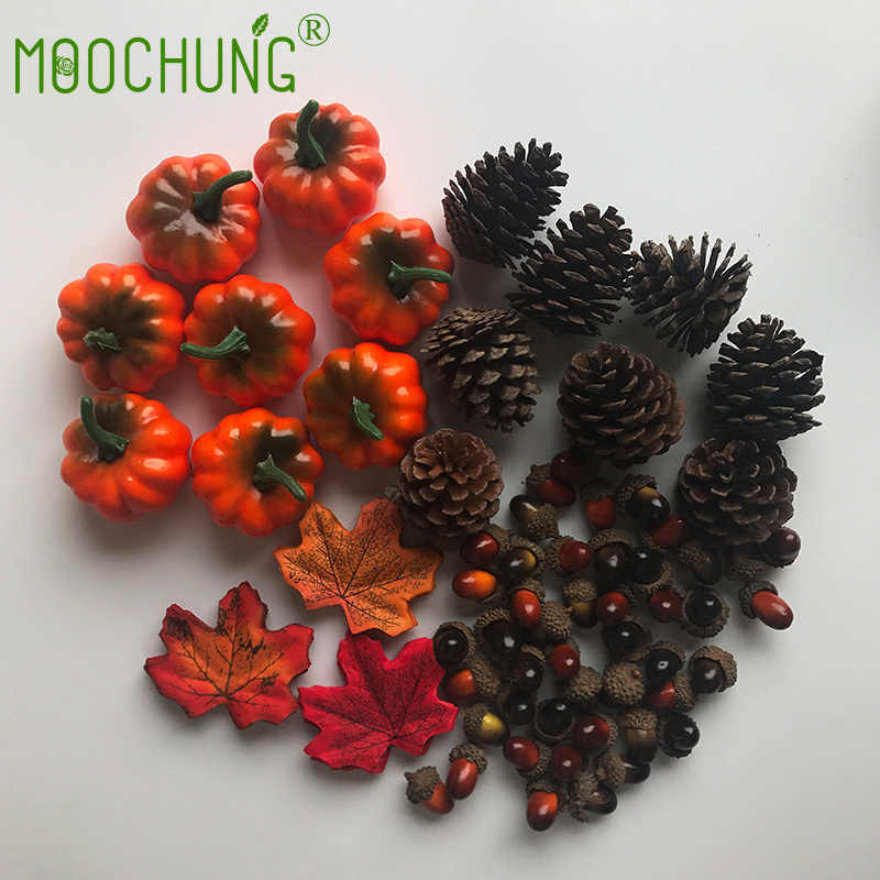 216pcs Set Artificial Silk Maple Leaves Christmas Pine Cones