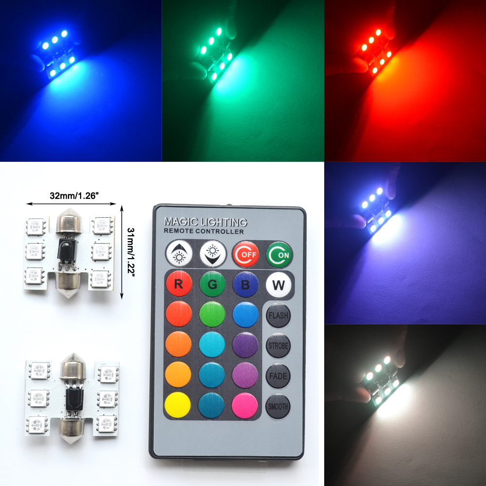 2pcs 5050 31mm RGB 6SMD Festoon Light c5w Dome Light Car Led Automobile Auto Remote Controlled Colorful Lamp Roof trunk Bulbs guangdian car led light auto interior light kit roof vanity light glove foot trunk cargo lamp t10 festoon for kia ceed 2006 2015