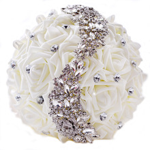 Doragrace 22CM Crystal Artificial Silk Flowers Bouquet Bride Bridesmaid Bridal Holding Brooches Wedding
