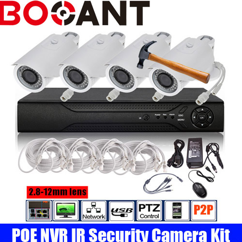 H.264 8CH POE NVR 2.0MP Security Kit 2.8-12mm Varifocal lens IP Camera P2P IR Outdoor POE CCTV System View by Phone APP
