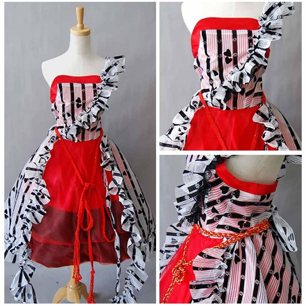 Tim Burton Alice In Wonderland Halloween Red Court Ball Gown Party Dress Halloween Carnival Women