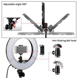 Image 3 - Travorリングライト 14 インチリングランプ調光対応コールドとウォームライトledライト三脚youtubeのメイク写真撮影をリングライト