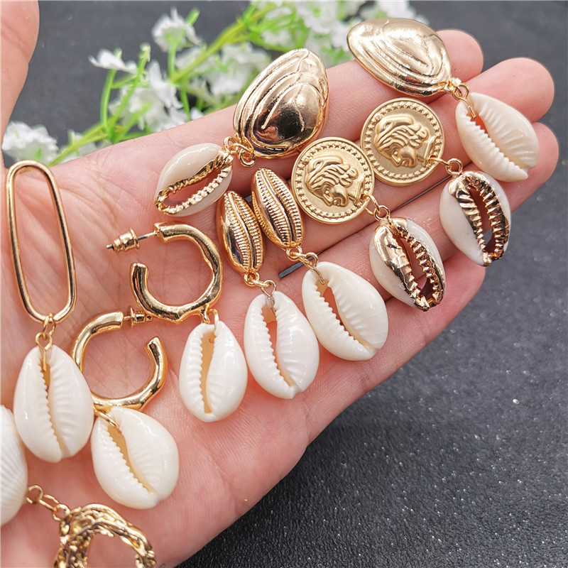 Vintage Gold Color Coin Cowrie Shell Drop Earring For Women Geometric Circles Statement Brincos Fashion Vacation Jewelry 2019