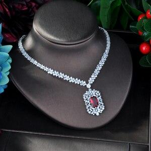 Image 4 - HIBRIDE Juego de joyas para mujer, juego de joyas de circonia cúbica roja, accesorios de mujer, diseño geométrico, regalos de joyería N 946