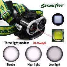 SKYWOLFEYE F522 LED 2x XM-L T6 1000lm Double Head Headlamp USB Rechargeable Zoomable Headlight with 2pcs 18650 5800mAh Battery цена