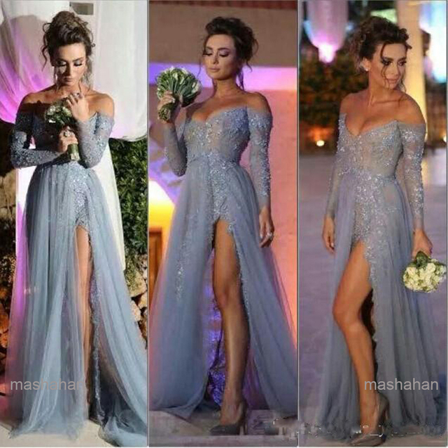 4389ddb3e88 2016 Fashion Gray Prom Dresses High Side Split Beaded Off the Shoulder Long  Sleeves Sweep Train