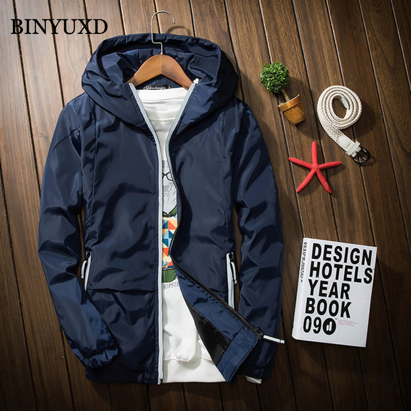 BINYUXD Men Bomber Jacket Thin Slim Long Sleeve Stand Collar Spring Military Jackets Hooded Style Army