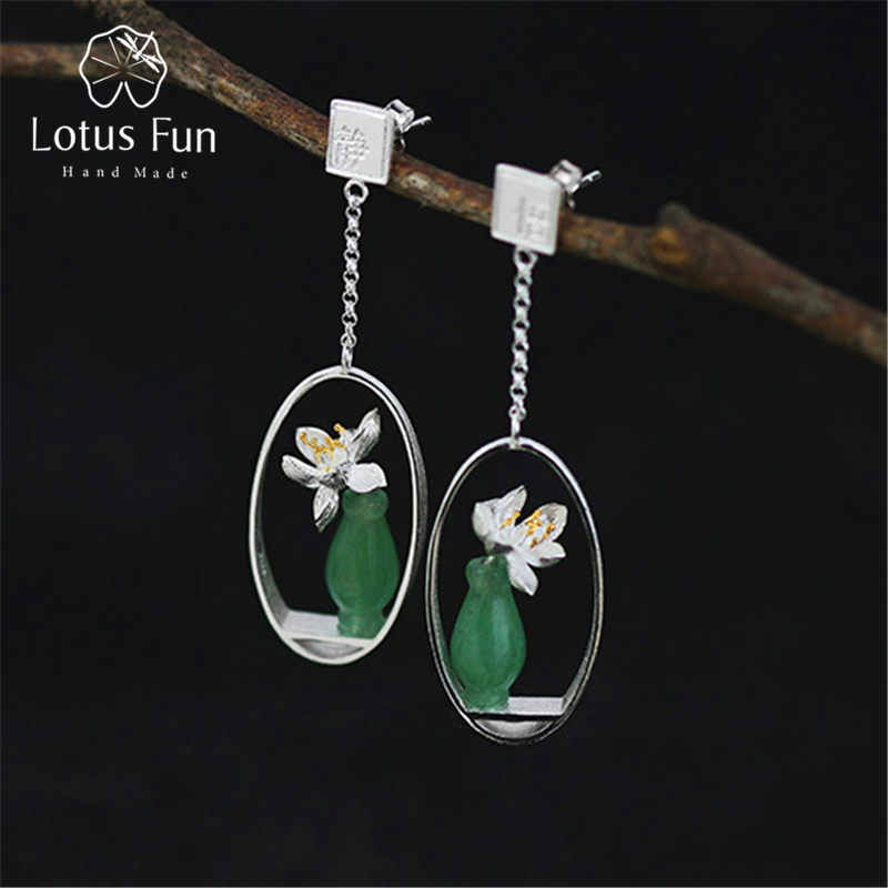Lotus Fun Real 925 Sterling Silver Natural Stone Creative Handmade Fine Jewelry Lotus Whispers Drop Earrings for Women Brincos natural stone 925 sterling silver drop earrings fine jewelry earrings for women aj