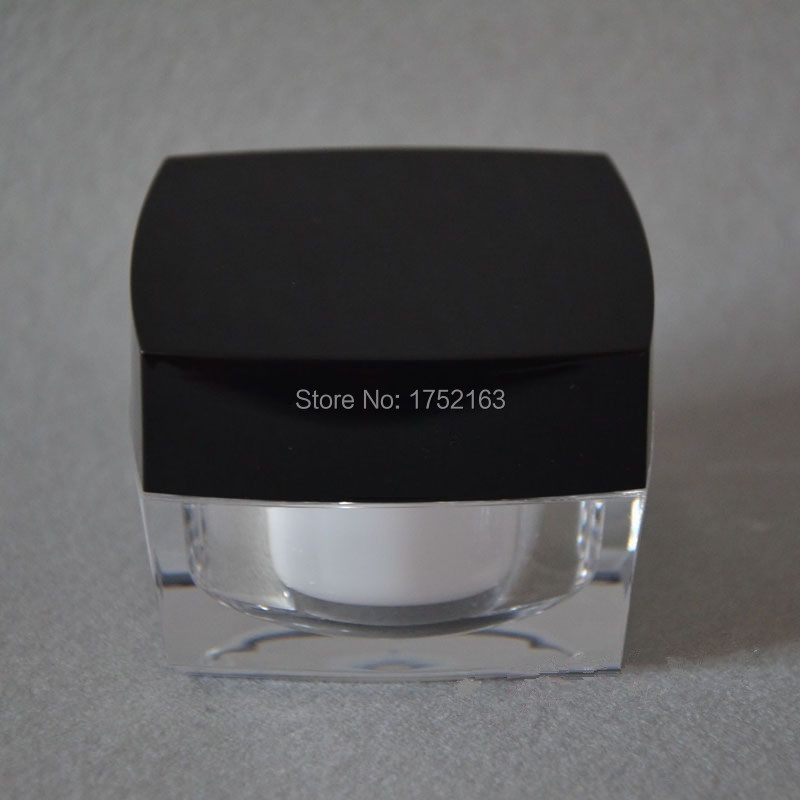 50G Jars square black Lids Acrylic cream Bottles,Cream jars, cosmetic containers 50 PCS/LOT - Mini packing world store