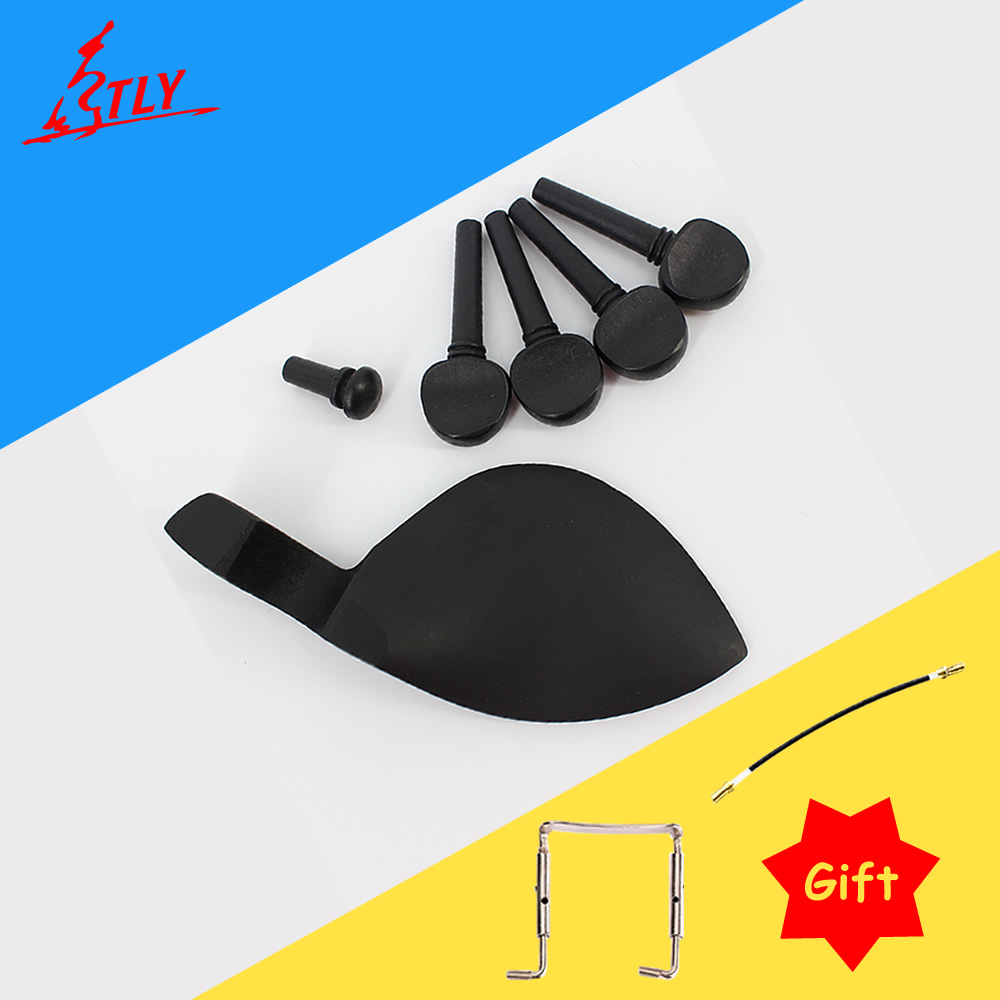 1 Set Of Dyed Black Solid Wood Violin Tailpiece+Pegs Chin Rest Drawplates Knob Endpin Violin Accessories 4/4 3/4 1/2 1/4 1/8