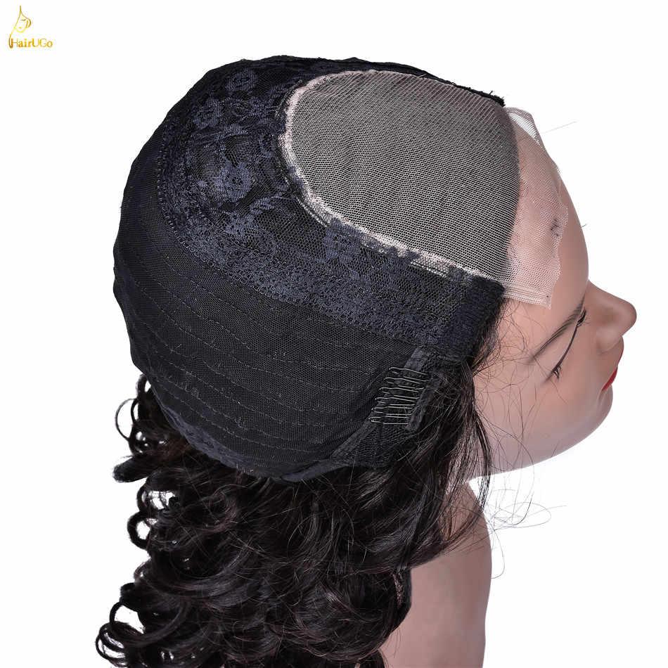 HairUGo предварительно цветные перуанские глубокие волнистые кружевные передние al короткие парики для природы черные 16 дюймовые человеческие парики Remy HL.