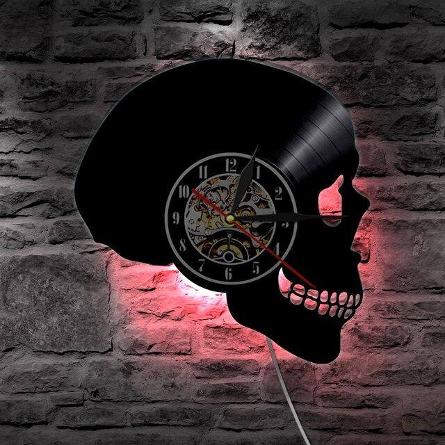 Horloge Décoration Hip Hop Vinyle LED crâne