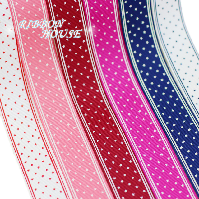 6 colors mix 25mm printed grosgrain cartoon small stars ribbon wholesale christmas ribbons
