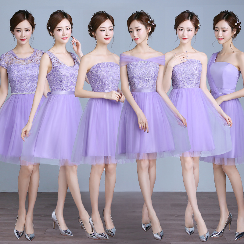 GZ93A10 2016 new short bridesmaid dresses champagne sisters ...