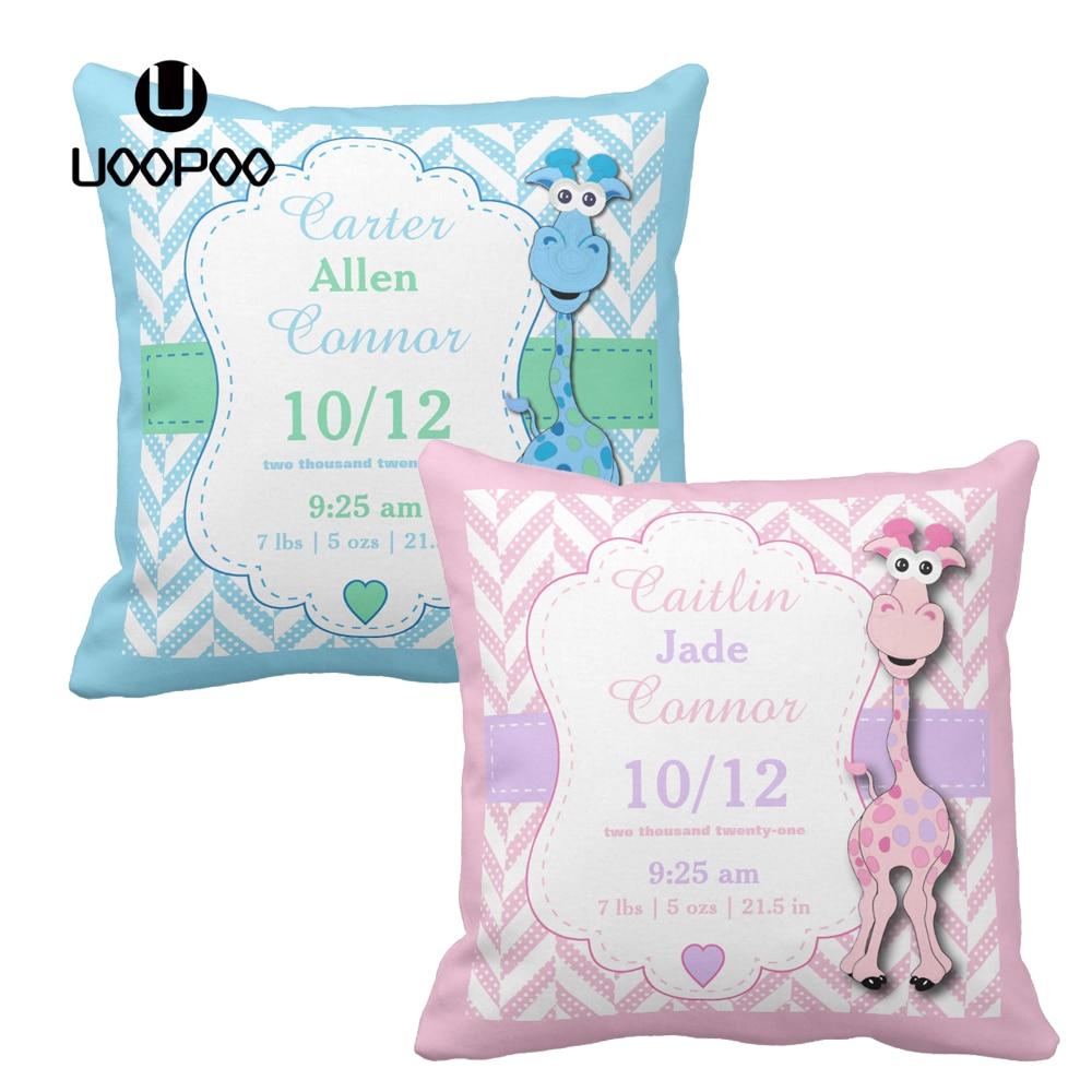 Personalised Cute Animals Pillow Case Cushion Cover Custom Print Children Kids