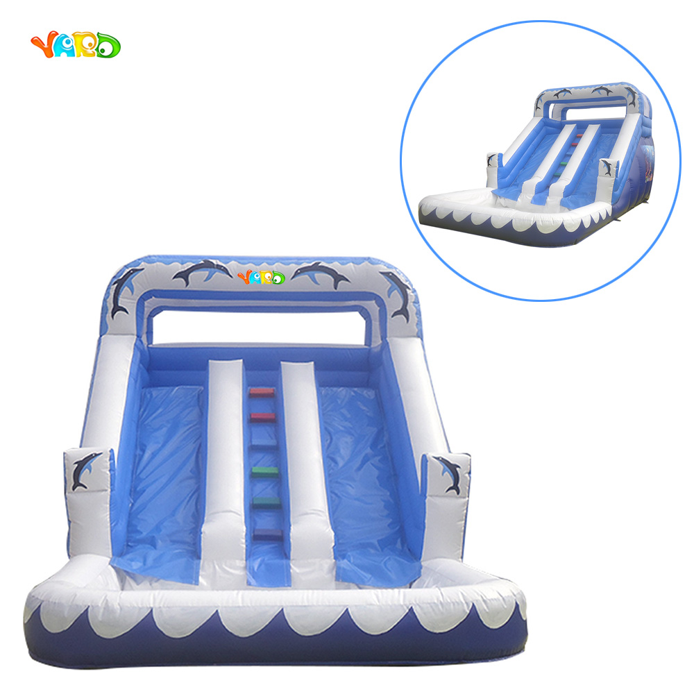 High quality summer water slide inflatable water slide with water pool popular best quality large inflatable water slide with pool for kids