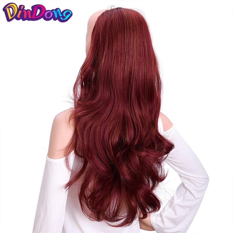 Hot Sale Dindong Long Wavy Hair 24 Black Dark Light Brown Half Wigs