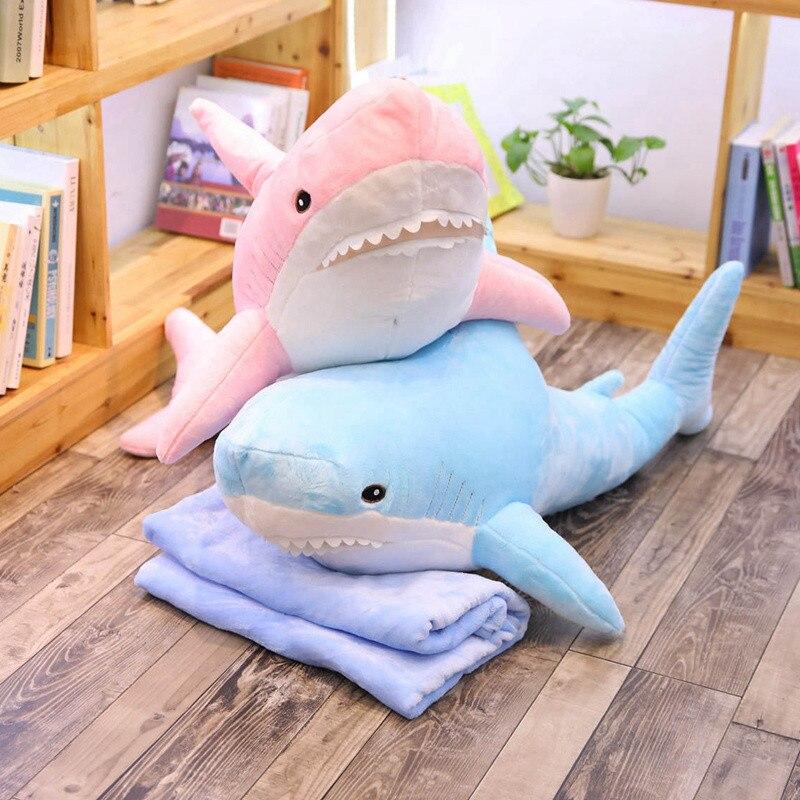 100 cm grande taille drôle doux russie peluche requin jouet oreiller avec couverture bébé apaiser poupée cadeau d'anniversaire pour enfants enfants filles