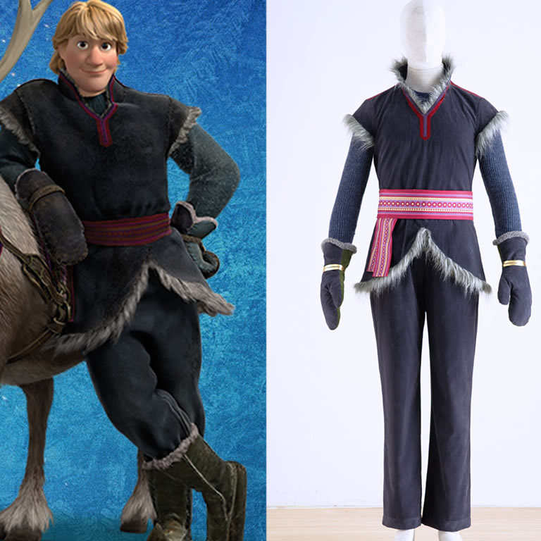 Movie Froze Kristoff Costume Snow Princess Farmer Kristoff Outfits Cotton Furry Coat Halloween Role Play Party DRESS 5PC консоль стеллаж kristoff
