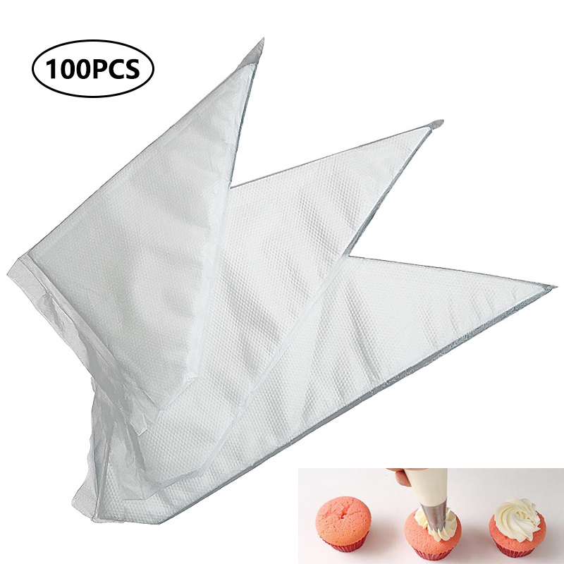 100PCS Disposable Piping Icing Cream Cake Pastry Decorating Bags Tip Tool S M L