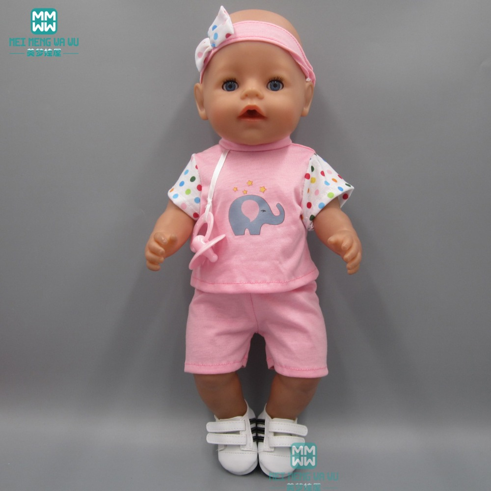 Clothes for dolls fits 43 cm Baby Born zapf dolls T-shirt shorts pacifier and hair band fashion white sports boots shoes for dolls fits 43 cm zapf dolls baby born and 18 american girl