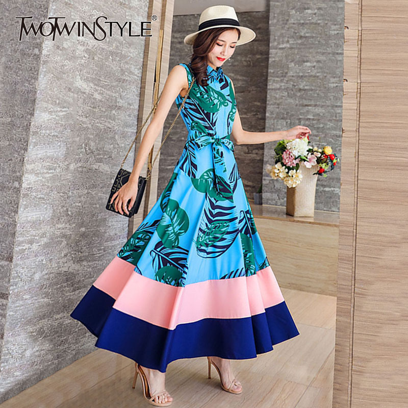 TWOTWISNTYLE Printed Striped Midi Dresses Women Sleeveless Lace up Office Lady Shirt Dress Female Summer Casual Clothes 2018 New