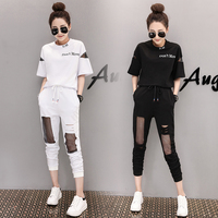 Tracksuit For Women 2018 Summer Female Printed T Shirts Hole Stitching Grid Pants Suits Women S